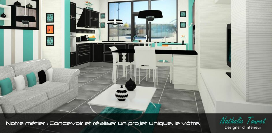 accueil de la cuisine au salon. Black Bedroom Furniture Sets. Home Design Ideas
